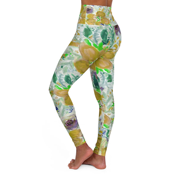 Yellow Floral Yoga Tights, High Waisted Yoga Leggings, Patterned Long Women's Pants-All Over Prints-Printify-Heidi Kimura Art LLC