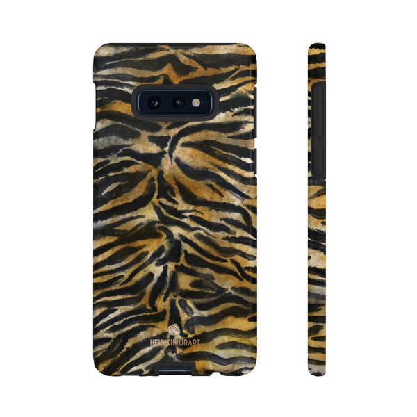 Brown Tiger Striped Tough Cases, Animal Print Best Designer Phone Case-Made in USA-Phone Case-Printify-Samsung Galaxy S10E-Glossy-Heidi Kimura Art LLC