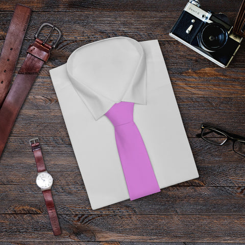 Classic Light Pink Solid Color Printed Soft Satin Finish Necktie Mens Tie- Made in USA-Necktie-One Size-Heidi Kimura Art LLC