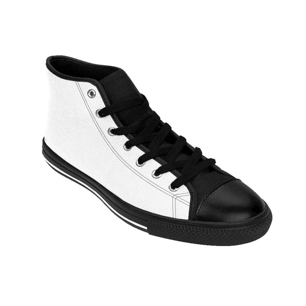 Bright White Solid Color Premium Quality Men's High-Top Sneakers Running Shoes-Men's High Top Sneakers-Heidi Kimura Art LLC White Men's High Top Sneakers, Titanium White Solid Color Premium Quality Men's High-Top Fashion Sneakers Shoes Footwear Shoes (US Size 6-14)
