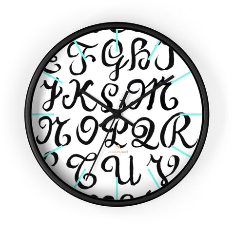 "Alphabet Print 10"" dia. Wall Clock, Large Calligraphy Wall Clock For Library -Made in USA-Wall Clock-10 in-Black-Black-Heidi Kimura Art LLC"