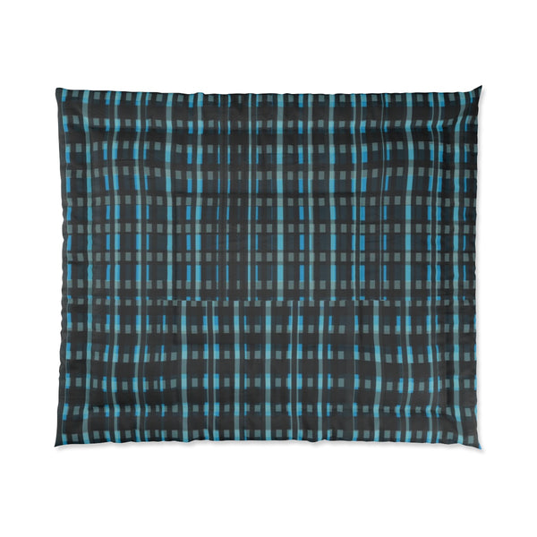 Blue Tartan Plaid Print Luxury Designer Best Comforter For King/Queen/Full/Twin Bed-Comforter-104x88-Heidi Kimura Art LLC