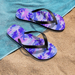 Pink Purple Camouflage Camo Military Print Unisex Flip-Flops Sandals- Made in USA-Flip-Flops-Small-Heidi Kimura Art LLC