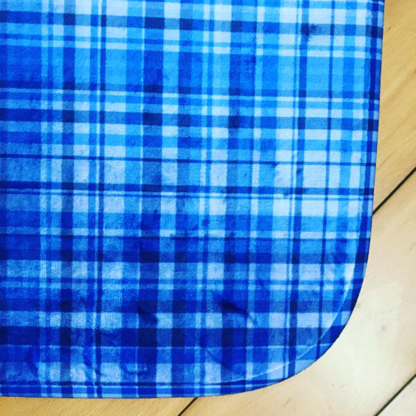 Blue Tartan Bath Mat, Plaid Print Bathroom Anti-Slip Microfiber Bath Rug-Printed in USA-Bath Mat-Printify-Heidi Kimura Art LLC