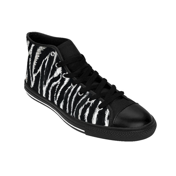 Black Zebra Women's Sneakers, Striped Animal Print Designer High-top Fashion Tennis Shoes-Shoes-Printify-Heidi Kimura Art LLC
