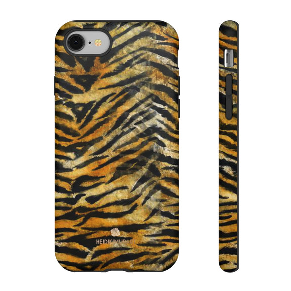 Orange Tiger Striped Phone Case, Animal Print Tough Cases, Designer Phone Case-Made in USA-Phone Case-Printify-iPhone 8-Matte-Heidi Kimura Art LLC
