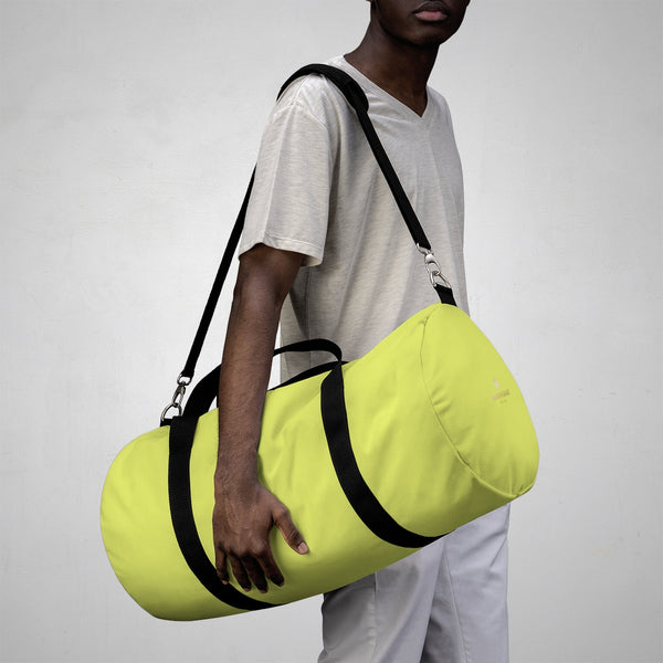 Light Yellow Solid Color All Day Small Or Large Size Duffel Bag, Made in USA-Duffel Bag-Heidi Kimura Art LLC