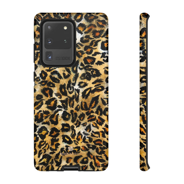 Brown Leopard Tough Cases, Animal Print Best Designer Phone Case-Made in USA-Phone Case-Printify-Samsung Galaxy S20 Ultra-Glossy-Heidi Kimura Art LLC