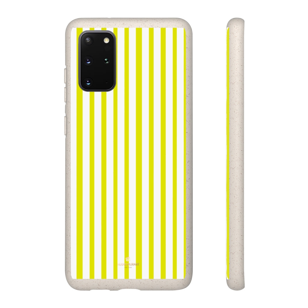 Yellow White Striped Biodegradable Case, Eco-Friendly Compostable Slim Lightweight Phone Case-Phone Case-Printify-WOYC-Samsung Galaxy S20+-Heidi Kimura Art LLC