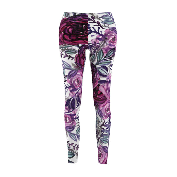 Ai Purple Floral Wreath Rose Flower Print Designer Women's Tights / Casual Leggings  - Made in USA (US Size: XS-2XL) Ai Purple Floral Wreath Women's Cut & Sew Casual Leggings - Made in USA