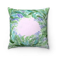 Okino Cute French Lavender Floral Print Pastel Calming Spun Polyester Square Pillow Case - Made in USA - Heidi Kimura Art LLC
