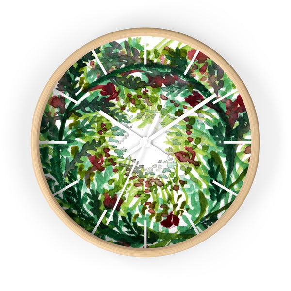 "Fall Leaves Red Christmas Wreath Floral Print Flower 10""Dia. Wall Clock - Made in USA-Wall Clock-Wooden-White-Heidi Kimura Art LLC"