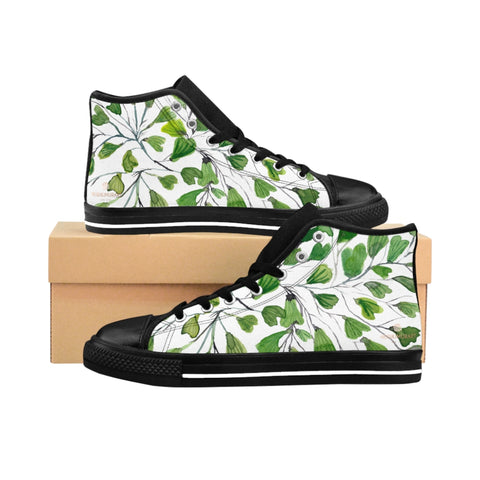 Green Maidenhair Men's Tennis Shoes, Tropical Print Designer Best High-top Sneakers For Men-Shoes-Printify-Black-US 9-Heidi Kimura Art LLC Green Fern Men's High-top Sneakers, White Green Cute Maidenhair Leaf Print Designer Men's High-top Sneakers Running Tennis Shoes, Fern Leaves Designer High Tops, Mens Floral Shoes, Tropical Leaf Print Sneakers (US Size: 6-14)