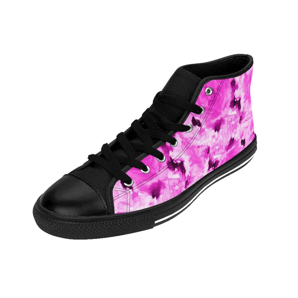 Japanese Princess Rose Floral Print Designer Women's High Top Sneakers Shoes (US 6-12)-Women's High Top Sneakers-Heidi Kimura Art LLC Pink Rose Women's Sneakers, Japanese Princess Rose Floral Print Designer Women's High Top Sneakers Shoes (US Size: 6-12)