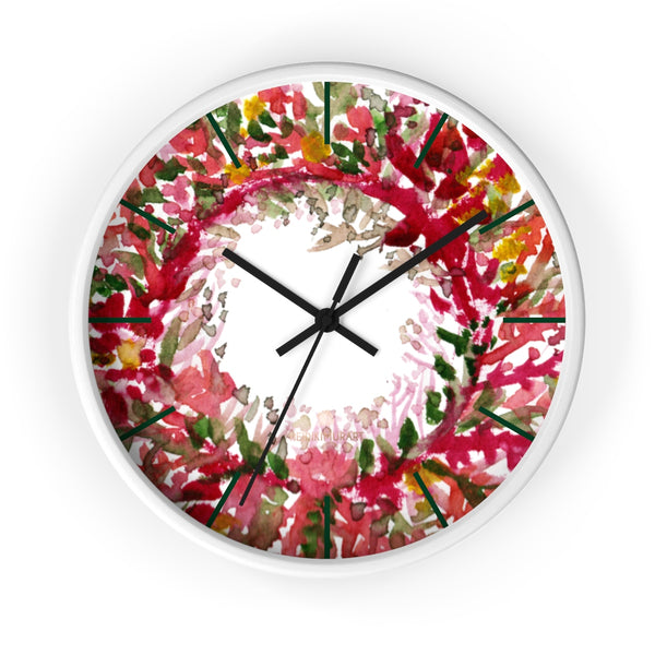 Fall Orange Red Floral Print Designer 10 in. Dia. Indoor Wall Clock- Made in USA-Wall Clock-10 in-White-Black-Heidi Kimura Art LLC