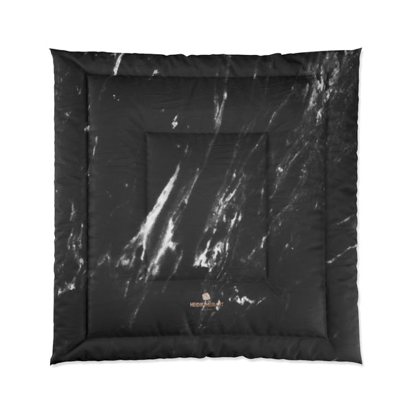 Black Marble Print Comforter, Luxury Best Comforter For King/Queen/Full/Twin Size Bed-Comforter-88x88-Heidi Kimura Art LLC