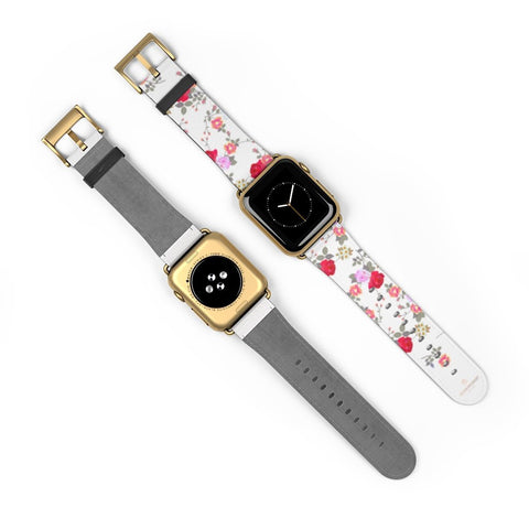White Red Floral Rose Print Premium 38mm/42mm Designer Watch Band- Made in USA-Watch Band-Heidi Kimura Art LLC