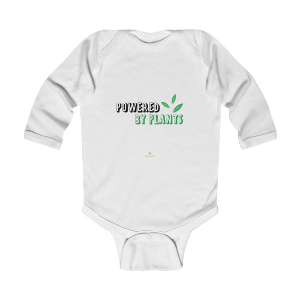 Cute Powered By Plants Vegan Baby Boy/Girls Infant Kids Long Sleeve Bodysuit - Made in USA-Infant Long Sleeve Bodysuit-White-NB-Heidi Kimura Art LLC