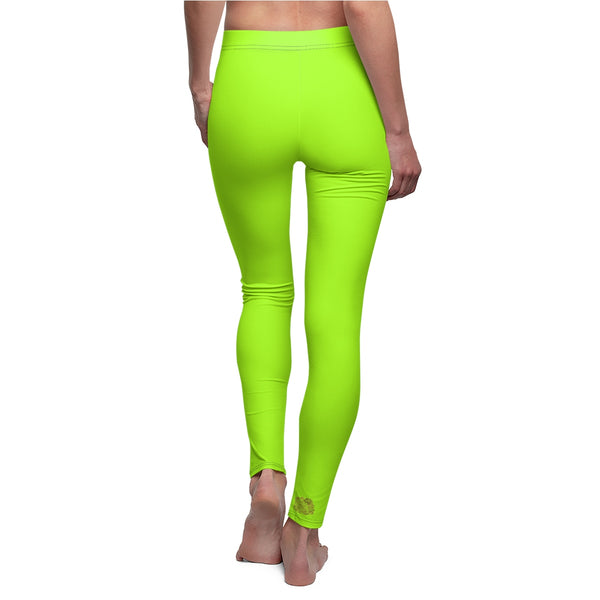Lime Neon Green Solid Color Print Women's Long Casual Leggings- Made in USA-Casual Leggings-Heidi Kimura Art LLC