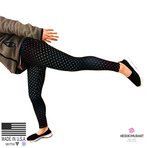 Black Rainbow Dots Women's Leggings, Black Rainbow Polka Dots Premium Women's Active Wear Fitted Long  Leggings Sports Long Yoga & Barre Pants, Sportswear, Gym Clothes, Workout Pants With Inside Pocket- Made in USA/ EU (US Size: XS-XL) Polka Dots Leggings, Women's Polka Dot Yoga Pants Leggings, Women's Yoga Leggings, Polka Dot Leggings Womens, Polka Dot Workout Leggings, Rainbow Polka Dot Leggings, Polka Dot Leggings Outfit, Polka Dot Leggings Yoga Pants