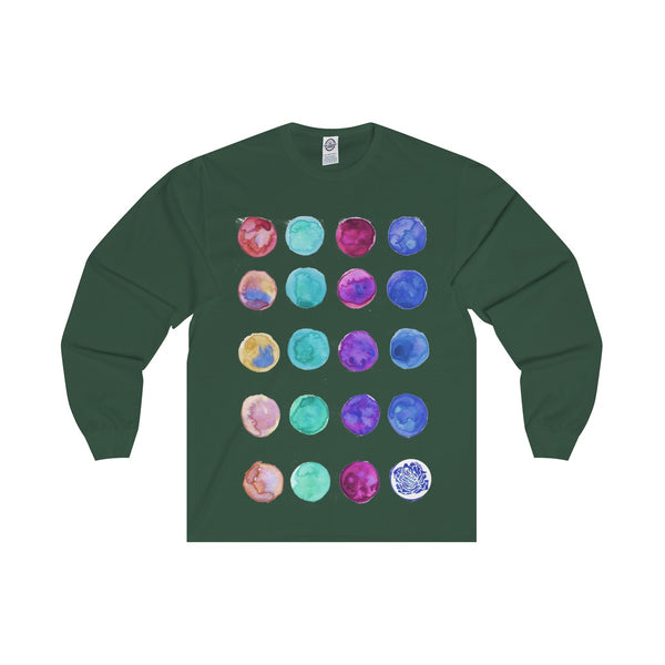 Polka Dots Unisex Designer Premium Long Sleeve Tee - Designed + Made in USA-Long-sleeve-Forest-S-Heidi Kimura Art LLC