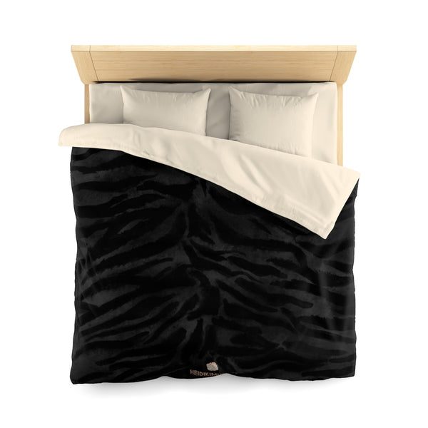 Bunko Black High Power Boss Tiger Stripe Pattern Green Queen Size or Twin Size Microfiber Duvet Cover - Made in USA - Heidi Kimura Art LLC