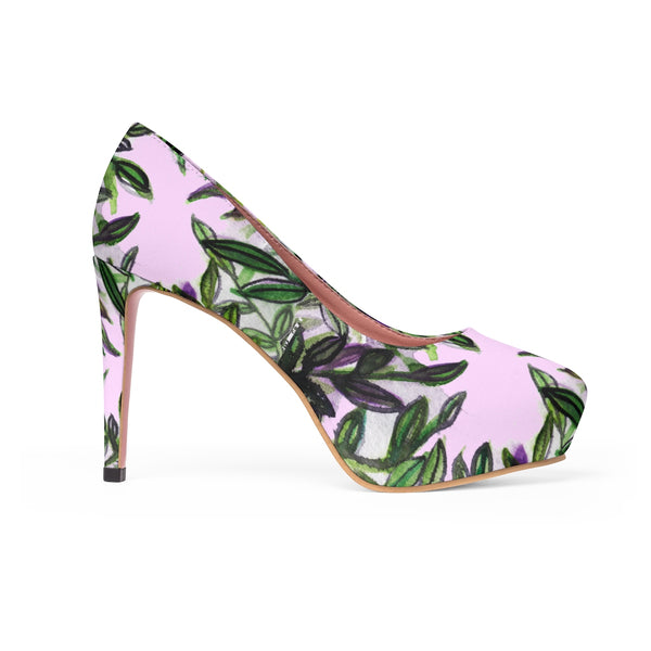 "Cherry Blossoms Floral Print Women's Light Pink Designer 4"" Platform Heels Shoes-4 inch Heels-Heidi Kimura Art LLCPink Green Tropical Heels, Cherry Blossoms Floral Print Women's Light Pink Designer 4"" Platform Heels Shoes (US Size: 5-11)"