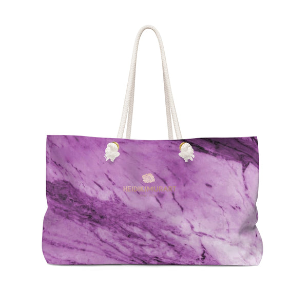 "Purple White Marble Print Designer 24""x13"" Oversize Weekender Bag-Printed in USA-Weekender Bag-24x13-Heidi Kimura Art LLC"