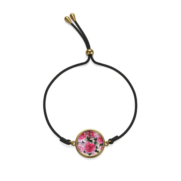 French Rose Floral Print Sterling Silver/ 18K Gold Plated Cord Bracelet - Made in the USA - Heidi Kimura Art LLC