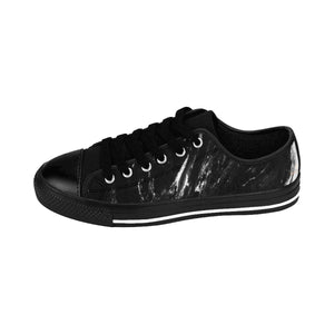Black Marble Print Men's Low Tops, Modern Low Top Fashion Sneakers Running Shoes-Men's Low Top Sneakers-Black-US 9-Heidi Kimura Art LLC Black Marble Print Men's Sneakers, Black Marble Print Men's Low Tops, Black Marble Modern Print Men's Low Top Nylon Canvas Sneakers Fashion Running Tennis Shoes (US Size: 7-14)