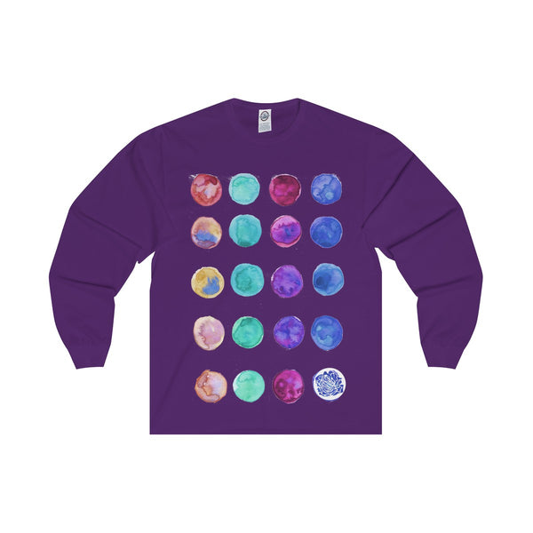 Polka Dots Unisex Designer Premium Long Sleeve Tee - Designed + Made in USA-Long-sleeve-Purple-S-Heidi Kimura Art LLC