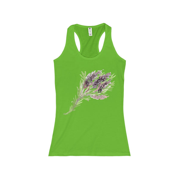 Bright Lavender Floral Women's Racerback Tank - Designed and Made in the USA.-Tank Top-Lime-S-Heidi Kimura Art LLC