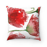 Miki Red Poppy Flower Spring Floral Luxury Faux Suede Square Pillow - Made in USA - Heidi Kimura Art LLC
