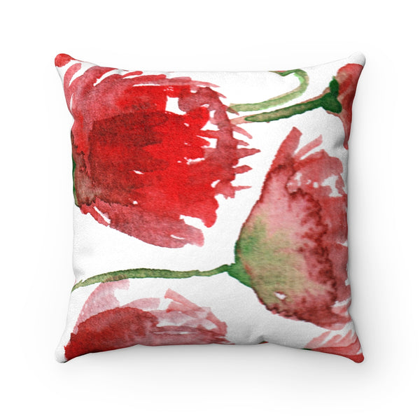 Red Poppy Flower Spring Floral Luxury Faux Suede Square Pillow - Made in USA-Pillow-Heidi Kimura Art LLC