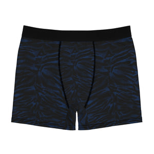 Blue Tiger Striped Men's Undies, Navy Blue Tiger Animal Print Underwear-(US Size: XS-3XL)-Men's Underwear-L-Black Seams-Heidi Kimura Art LLC