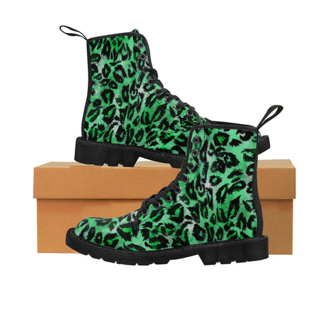 Green Leopard Men's Boots, Best Hiking Winter Boots Laced Up Shoes For Men-Shoes-Printify-Black-US 9-Heidi Kimura Art LLC Green Leopard Men's Boots, Best Luxury Premium Quality Unique Animal Print Designer Men's Lace-Up Winter Boots Men's Shoes (US Size: 7-10.5)