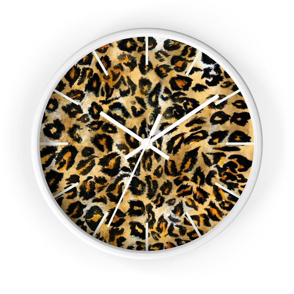 "Brown Leopard Print Wall Clock, Animal Print Pattern 10"" Dia. Indoor Clock-Made in USA-Wall Clock-White-White-Heidi Kimura Art LLC"