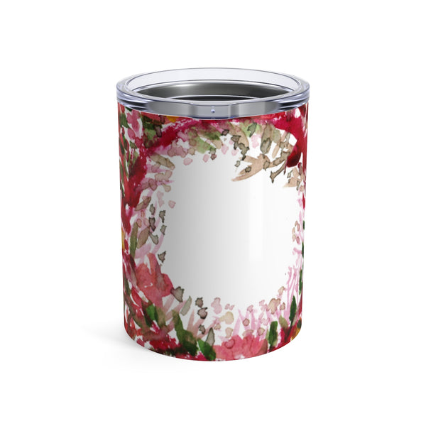 Red Rose Floral Print Stainless Steel Tumbler 10oz w/ See-through Plastic Lid - Heidi Kimura Art LLC
