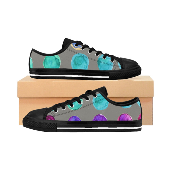 Colorful Abstract Polka Dots Print Designer Women's Low Top Sneakers (US Size: 6-12)-Women's Low Top Sneakers-US 10-Heidi Kimura Art LLC