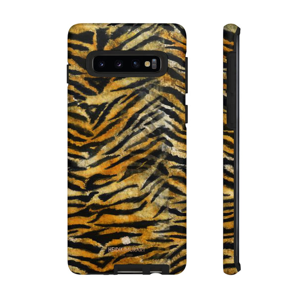 Orange Tiger Striped Phone Case, Animal Print Tough Cases, Designer Phone Case-Made in USA-Phone Case-Printify-Samsung Galaxy S10-Matte-Heidi Kimura Art LLC