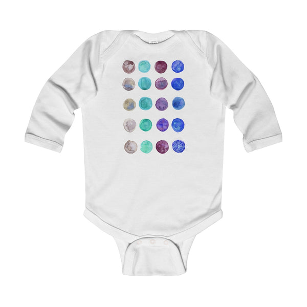 Polka Dots Infant Long Sleeve Bodysuit - Made in United Kingdom (UK Size: 6M-24M)-Kids clothes-White-12M-Heidi Kimura Art LLC