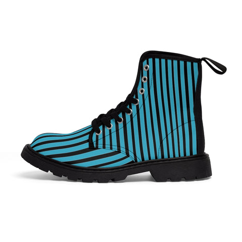 Blue Striped Print Men's Boots, Black Stripes Best Hiking Winter Boots Laced Up Designer Shoes For Men-Shoes-Printify-Heidi Kimura Art LLC Blue Black Striped Print Men's Boots, Blue Black White Stripes Men's Canvas Hiking Winter Boots, Fashionable Modern Minimalist Best Anti Heat + Moisture Designer Comfortable Stylish Men's Winter Hiking Boots Shoes For Men (US Size: 7-10.5)