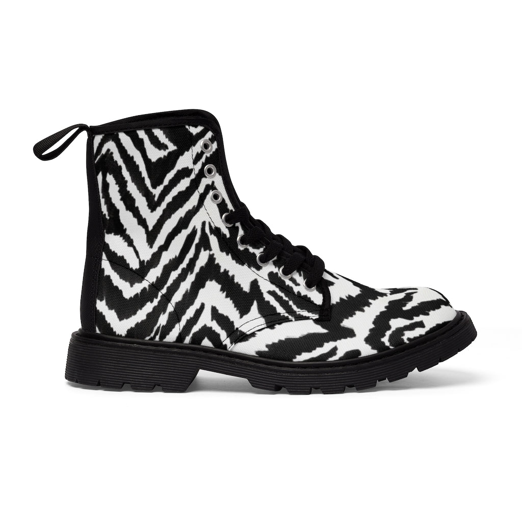 Zebra Striped Men's Boots, Best Hiking Winter Boots Laced Up Shoes For Men