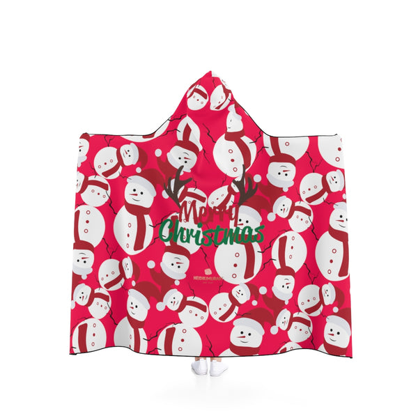 Red Festive Lightweight Christmas Red Snowman Holiday Party Hooded Blanket-Hooded Blanket-50x40-Heidi Kimura Art LLC