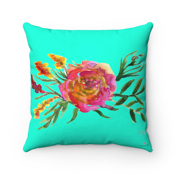 Spring Pink Rose Girlie Floral Wreath Spun Polyester Square Pillow Cover Set-Pillow-Heidi Kimura Art LLC