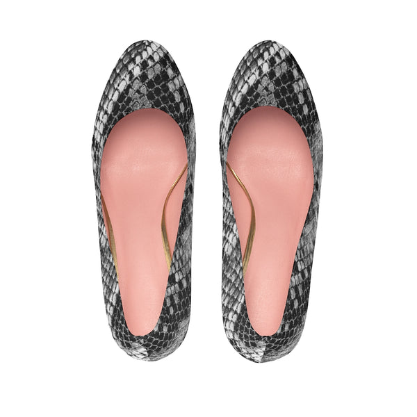 "Black Snake Women's Platform Heels, Snake Artistic Animal Print Fashion Stiletto Heels For Ladies-Shoes-Printify-Heidi Kimura Art LLC Black Snake Women's Platform Heels, Snake Artistic Reptile Print Premium Quality Designer Women's Platform Heels Stiletto Pumps 4"" Heels (US Size: 5-11)"