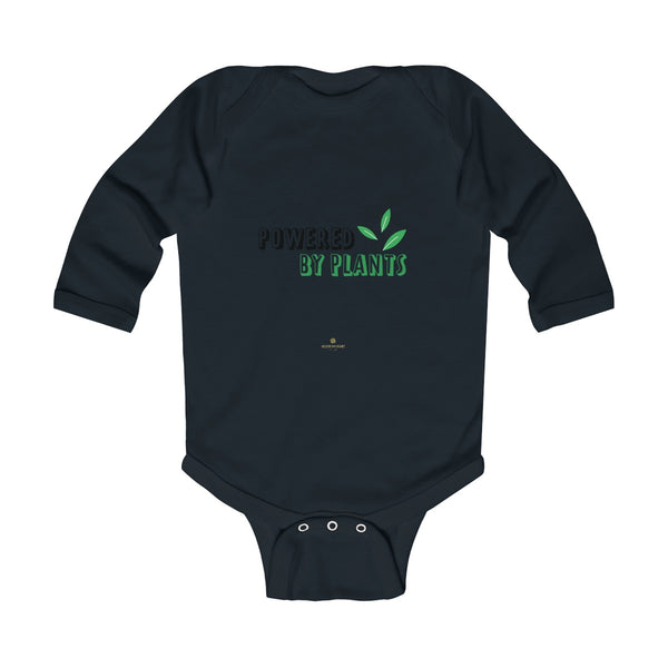 Cute Powered By Plants Vegan Baby Boy/Girls Infant Kids Long Sleeve Bodysuit - Made in USA-Infant Long Sleeve Bodysuit-Black-NB-Heidi Kimura Art LLC