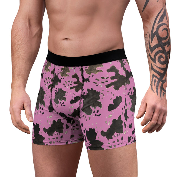 Pink Cow Men's Underwear, Cow Farm Animal Print Fetish Print Designer Fashion Underwear For Sexy Gay Men, Men's Gay Fetish Party Erotic Boxer Briefs Elastic Underwear (US Size: XS-3XL)