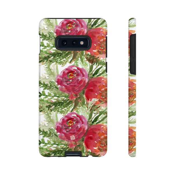 Red Orange Floral Phone Case, Flower Print Tough Designer Phone Case -Made in USA-Phone Case-Printify-Samsung Galaxy S10E-Glossy-Heidi Kimura Art LLC