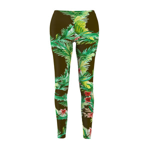 Olive Green Floral Print Flower Women's Casual Leggings-Made in USA(US Size: XS-2XL)-Casual Leggings-M-Heidi Kimura Art LLC